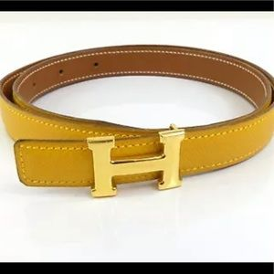 Hermès Constance mini buckle yellow and brown